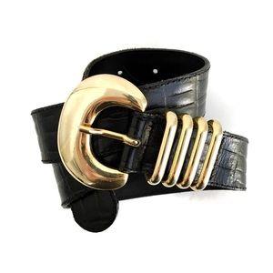 Vintage The Limited 90s Black & Gold Leather Belt